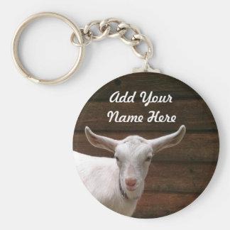 Ajoutez votre porte - clé de chèvre de nom ici porte-clé rond