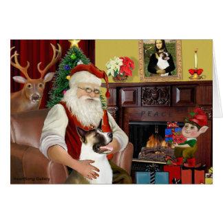 Akita de Père Noël (brun et blanc) Carte De Vœux
