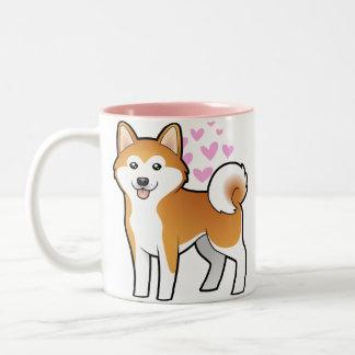 Akita Inu/amour de Shiba Inu Mug Bicolore