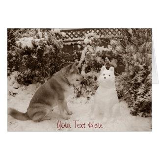 akita mignon dans la neige avec une photo d'akita cartes de vœux