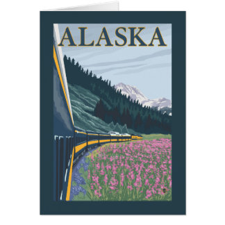 AlaskaRailroad et voyage vintage de Fireweed Carte De Vœux