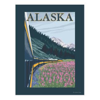 AlaskaRailroad et voyage vintage de Fireweed Carte Postale