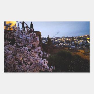 Albayzin de Grenade vu de l'amande d'Alhambra Sticker Rectangulaire