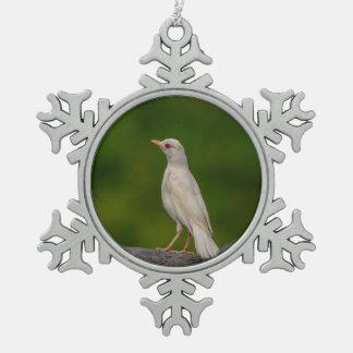 Albinos Robin au point de couronne Ornement Flocon De Neige Pewter