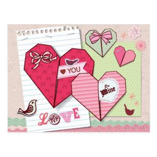 Album avec des éléments d'amour cartes postales