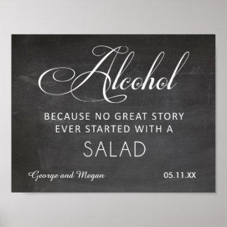 Alcool - signe drôle de tableau de mariage poster