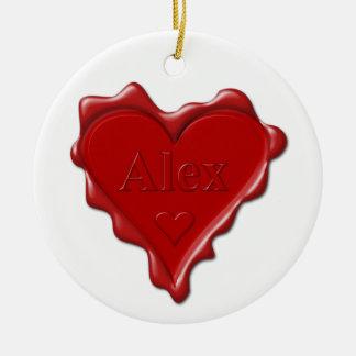 Alex. Joint rouge de cire de coeur avec Alex nommé Ornement Rond En Céramique