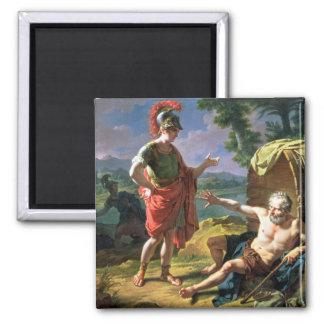 Alexandre et Diogène, 1818 (huile sur la toile) Magnet Carré