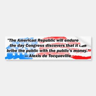 Alexis de Tocqueville : La République américaine ! Autocollant De Voiture