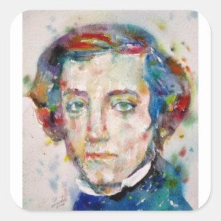 Alexis de tocqueville - portrait d'aquarelle sticker carré