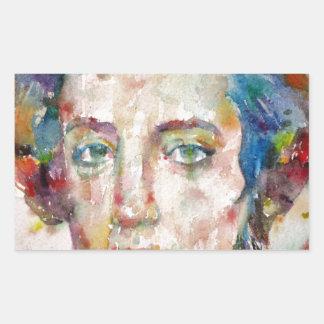 Alexis de tocqueville - portrait d'aquarelle sticker rectangulaire