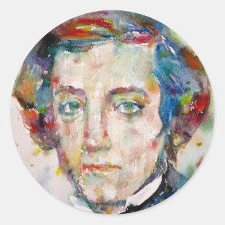 Alexis de tocqueville - portrait d'aquarelle sticker rond