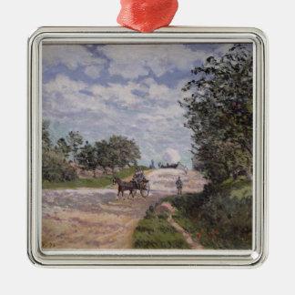 Alfred Sisley   la route de Mantes Ornement Carré Argenté