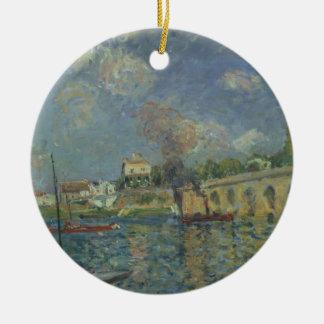 Alfred Sisley   le pont Ornement Rond En Céramique