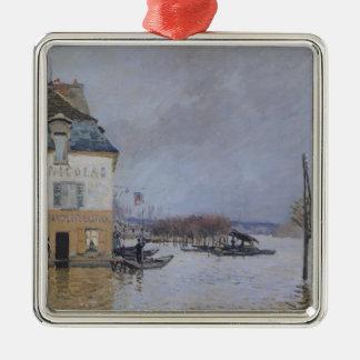 Alfred Sisley | l'inondation à Port-Marneux Ornement Carré Argenté