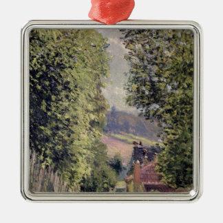 Alfred Sisley   une route dans Louveciennes Ornement Carré Argenté