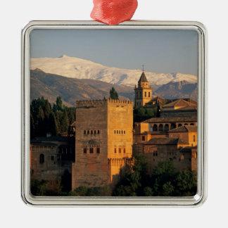 Alhambra ; Grenade ; Andaslusia, Espagne, sierra Ornement Carré Argenté