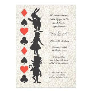 Alice au pays des merveilles carde l anniversaire invitations personnalisées