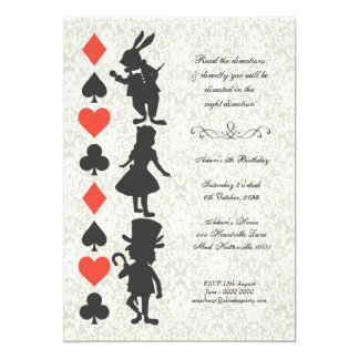 Alice au pays des merveilles carde l'anniversaire carton d'invitation  12,7 cm x 17,78 cm