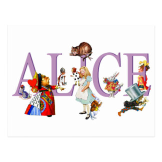 Alice au pays des merveilles et amis carte postale