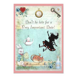 Alice au pays des merveilles ne sont pas défunt carton d'invitation  12,7 cm x 17,78 cm