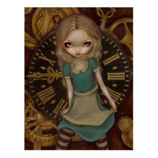 """""""Alice carte postale dans rouages"""""""