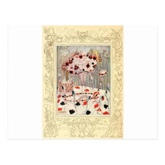 Alice dans la bataille de carte du pays des cartes postales