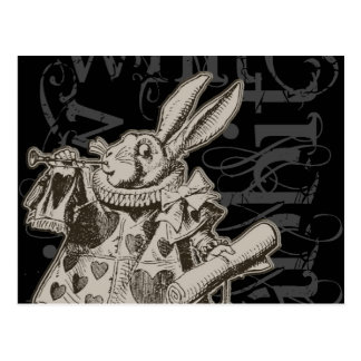 Alice dans la grunge blanche de lapin du pays des  carte postale