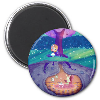Alice dans l'aimant du pays des merveilles magnet rond 8 cm