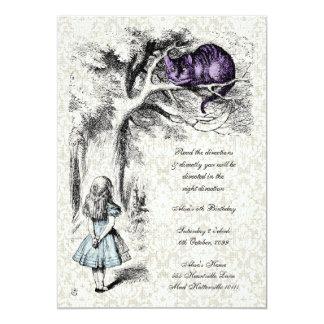 Alice dans l'anniversaire fol de thé de chapeliers carton d'invitation  12,7 cm x 17,78 cm