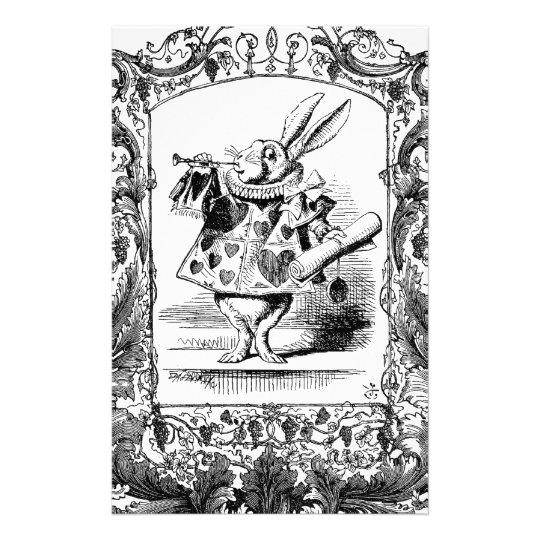 Alice dans le cadre fleuri Vinta de klaxon de lapi Papier À Lettre Customisé