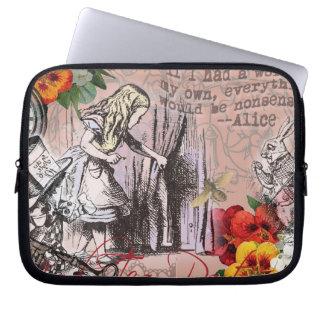 Alice dans le chapelier et le lapin du pays des housses pour ordinateur portable