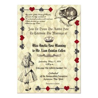 Alice dans le faire-part de mariage du pays des