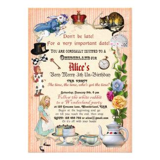 Alice dans l'invitation de fête d'anniversaire du