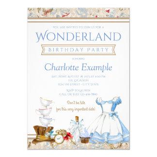 Alice dans l'invitation de fête d'anniversaire du carton d'invitation  11,43 cm x 15,87 cm