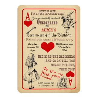 Alice dans l'invitation de fête d'anniversaire du carton d'invitation  12,7 cm x 17,78 cm