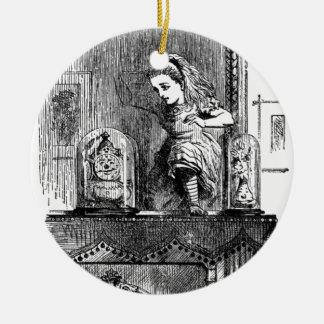 Alice dans un miroir ornement rond en céramique