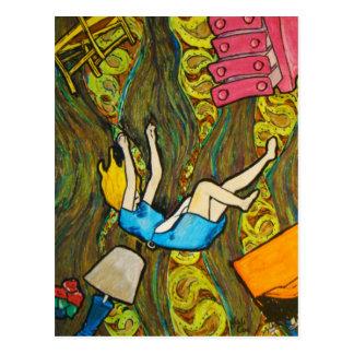 Alice en bas du terrier de lapin - carte postale