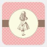 Alice en pois du pays des merveilles stickers carrés