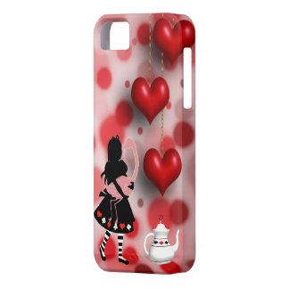 Alice et coeurs et théière de flamant coque barely there iPhone 5
