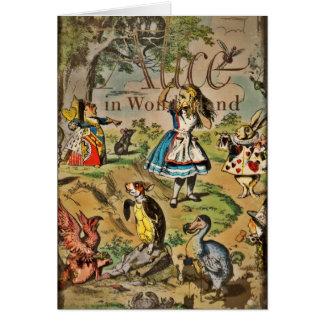 Alice et couverture affligées d'amis carte de vœux
