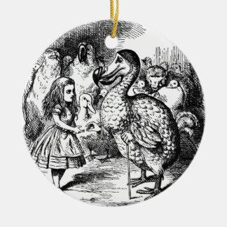Alice et la dronte ornement rond en céramique