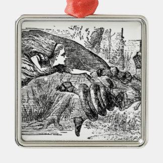 Alice et la reine ornement carré argenté