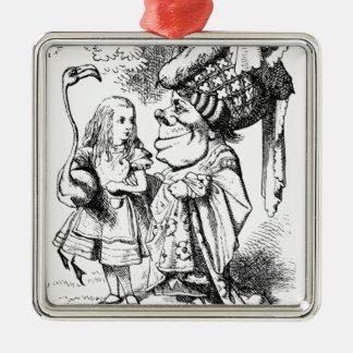 Alice et la reine rouge ornement carré argenté