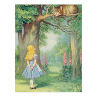 Alice et le chat de Cheshire Carte Postale