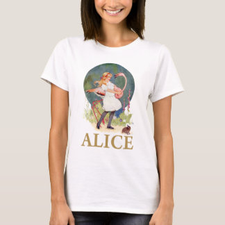 ALICE ET LE CROQUET ROSE DE JEU DE FLAMANT T-SHIRT