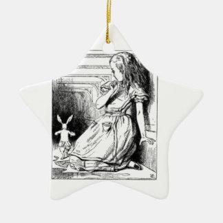 Alice et le lapin blanc ornement étoile en céramique