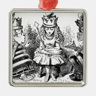 Alice et le Queens Ornement Carré Argenté