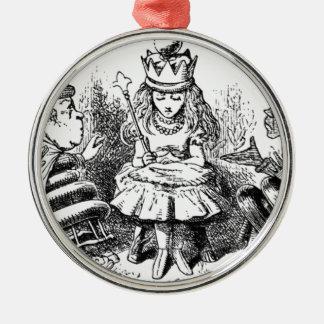 Alice et le Queens Ornement Rond Argenté