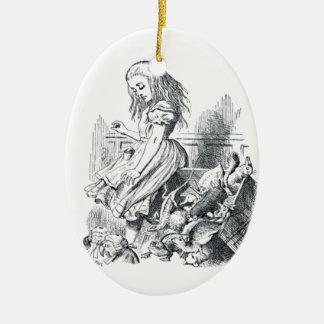 Alice et les écureuils ornement ovale en céramique